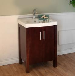 Single SinkDark Walnut Wood 23.8-inch Vanity
