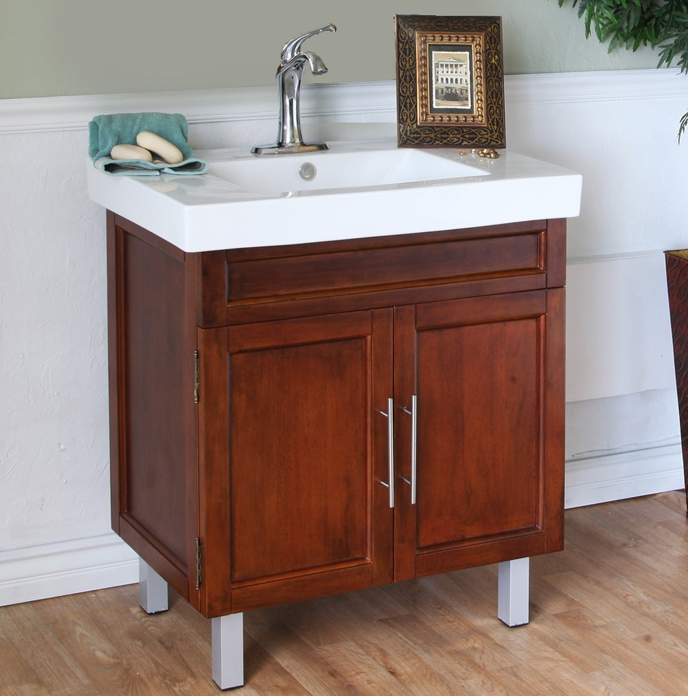 walnut 31 5 inch birch wood single bathroom vanity and sink 14066199 shopping. Black Bedroom Furniture Sets. Home Design Ideas