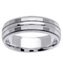 14k White Gold Men's Milligrain Channel Wedding Band