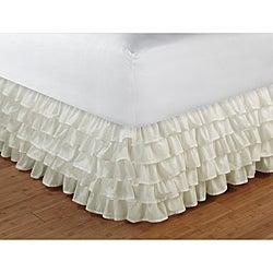 Multi-Ruffle Ivory 15-inch Drop Bedskirt