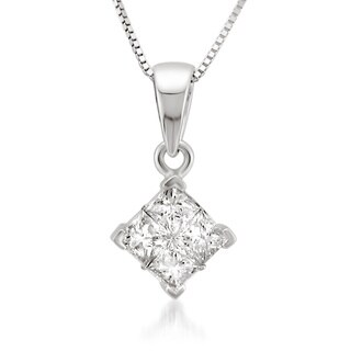 14k White Gold 1/2ct TDW Diamond Composite Necklace (H-I, I1-I2)