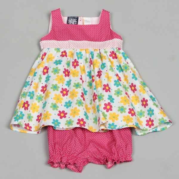 So La Vita Infant Girl's Flowers and Polka Dot Dress