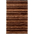 Striped Hand-woven Brown Garnet Soft Plush Shag Rug (5' x 8')