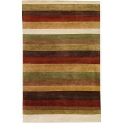 Hand-knotted Multi Colored Striped Wool Thubten Rug (9' x 13')