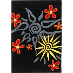 Hand-Tufted Acrylic Black Analect Floral Rug (5'3 x 7'6)