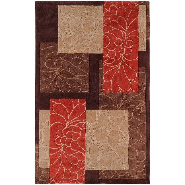 Hand Tufted Canonical Brown Floral Squares Rug (9' x 13')