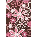 Hand-tufted Chocolate Mohatma Floral Rug (8' x 10')