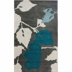 nuLOOM Handmade Leaves Grey New Zealand Wool Rug (5' x 8')