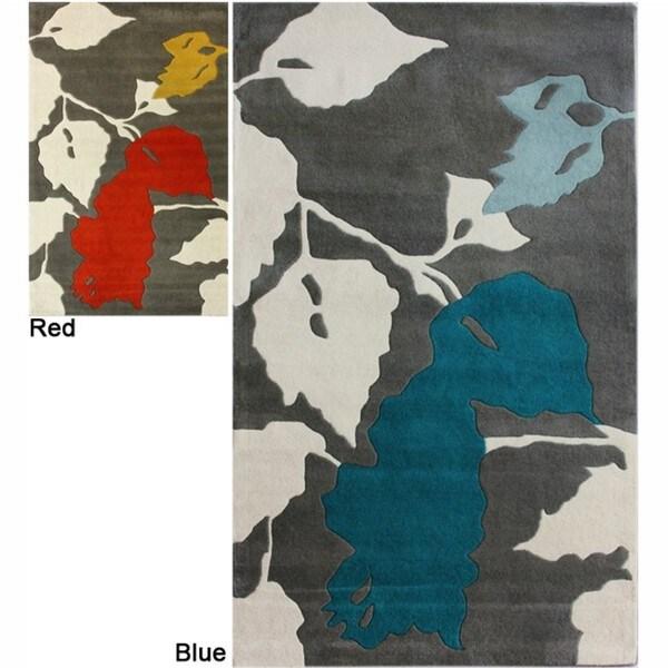 nuLOOM Handmade Leaves Grey New Zealand Wool Rug (5' x 8')