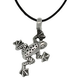Gray Antiqued Pewter Jumping Frog Necklace with Black Leather Cord