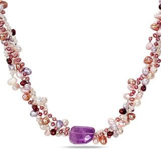 Miadora Multi-colored Pearl and Amethyst 4-Strand Necklace (3-6 mm)