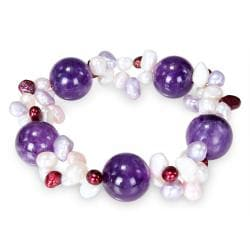 Miadora  Multi-colored Pearl and Rose Quartz Stretch Bracelet (4-6 mm)