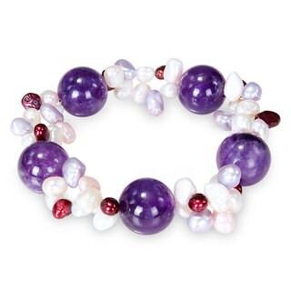 M by Miadora Multi-colored Pearl and Rose Quartz Stretch Bracelet (4-6 mm)