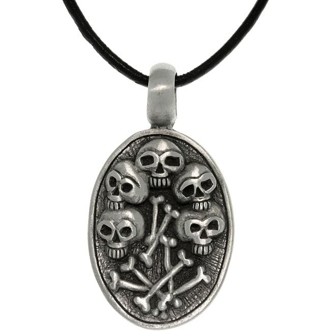 CGC Pewter Unisex Skulls and Bones Necklace
