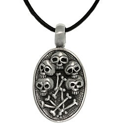 CGC Pewter Unisex Skulls and Bones Necklace
