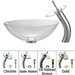Kraus Bathroom Combo Set Crystal Clear Glass Vessel Sink/Faucet