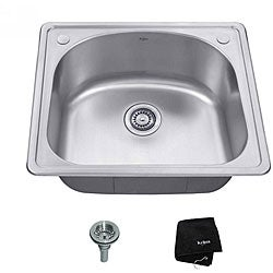 Kraus 25 inch Topmount Single Bowl 18 gauge Stainless Steel Kitchen Sink