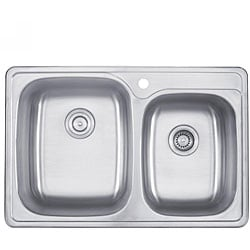 Kraus 33 inch Topmount 55/45 Double Bowl 18 gauge Stainless Steel Kitchen Sink