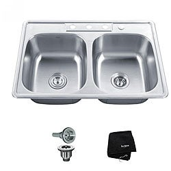 Kraus 33 inch Topmount 50/50 Double Bowl 18 gauge Stainless Steel Kitchen Sink