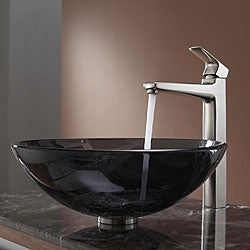 Kraus Bathroom Combo Set Clear Black Vessel Sink/Faucet Brushed Nickel