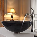 Kraus Clear Black Glass Vessel Sink and Ventus Faucet Brushed Nickel