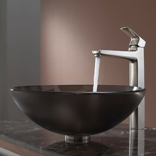 Kraus Frosted Brown Glass Vessel Sink and Virtus Faucet Brushed Nickel