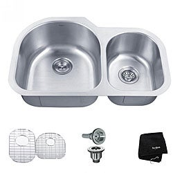 Kraus 32 -inch Undermount 60/40 Double Bowl Steel Kitchen Sink