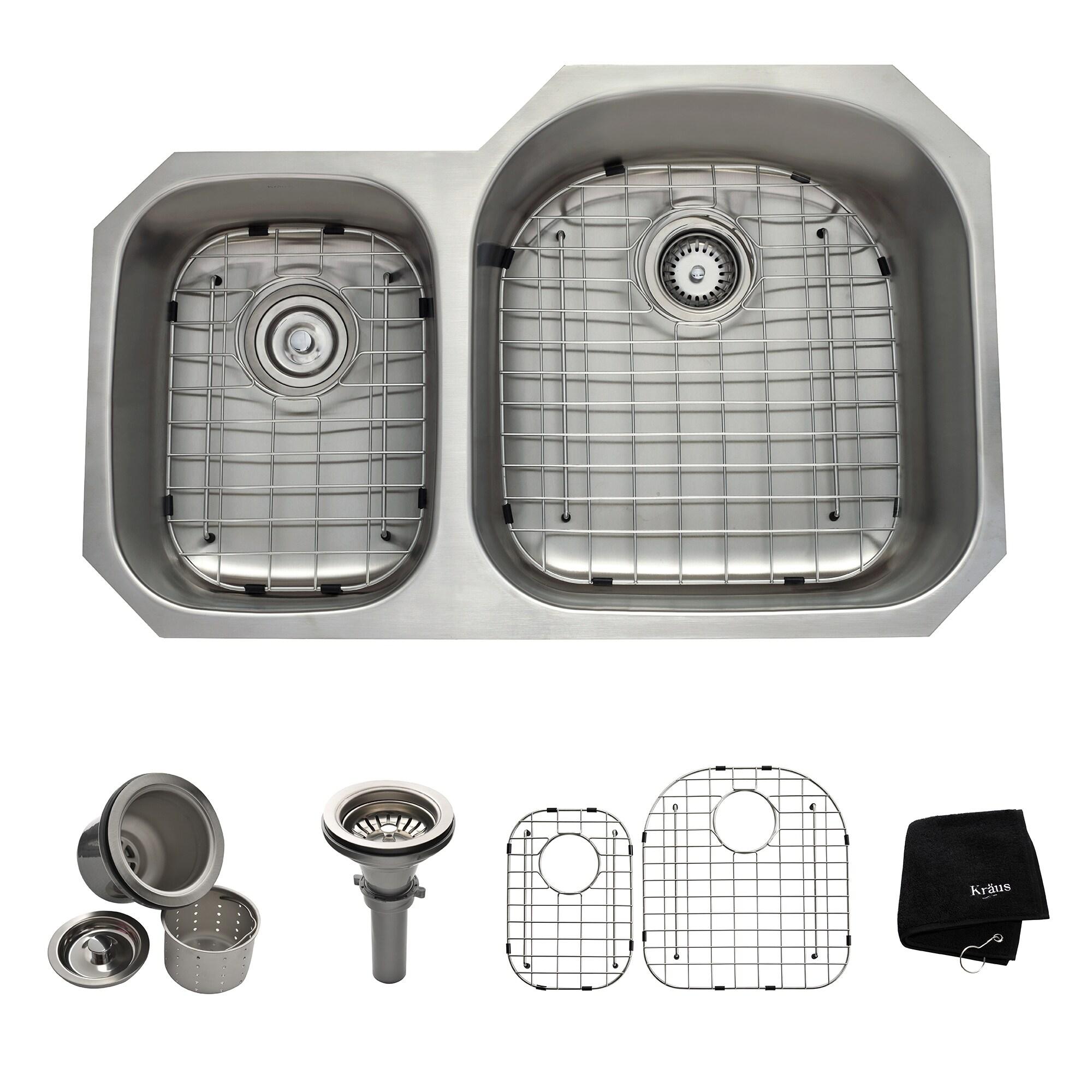 Kraus 32 -inch Undermount 65/35 Double Bowl Steel Kitchen Sink ...