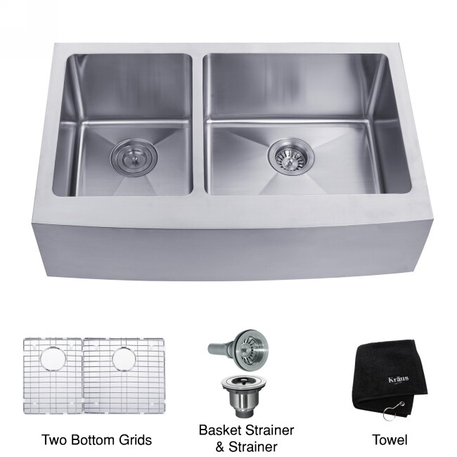 20 Inch Farmhouse Sink : Kraus 33 -inch Farmhouse Apron 60/40 Double Bowl Steel Kitchen Sink ...