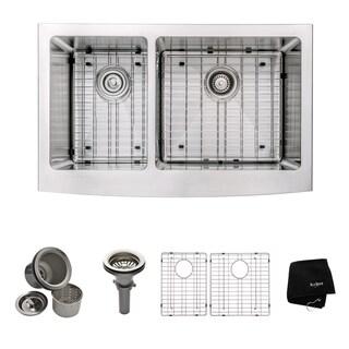 Kraus 33 -inch Farmhouse Apron 60/40 Double Bowl Steel Kitchen Sink