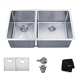 Kraus 33 inch Undermount 60/40 Double Bowl 16 gauge Stainless Steel Kitchen Sink