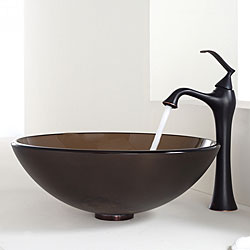 Kraus Bathroom Combo Set Frosted Brown Glass Vessel Sink/Faucet