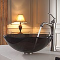 Kraus Clear Brown Glass Vessel Sink and Ventus Faucet Brushed Nickel