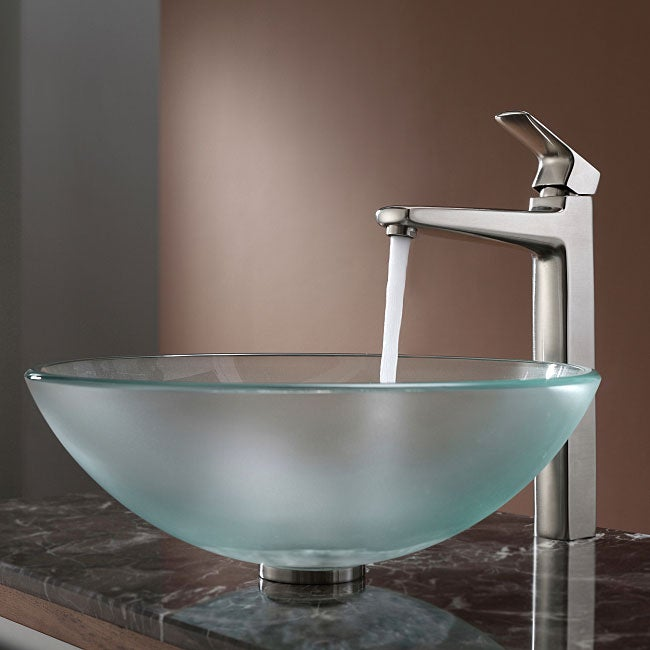 Kraus Bathroom Combo Set Frosted Glass Vessel Sink/Faucet - Overstock ...