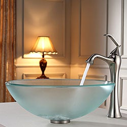 Kraus Frosted Glass Vessel Sink and Ventus Faucet Brushed Nickel