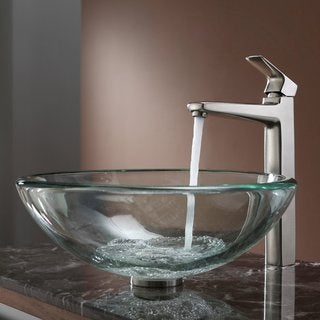 Kraus Clear 19mm thick Glass Vessel Sink and Virtus Faucet Brushed Nickel