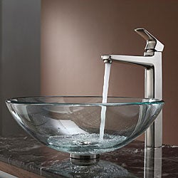 Kraus Clear Glass Vessel Sink and Virtus Faucet Brushed Nickel