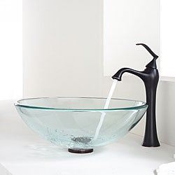 Kraus Bathroom Combo Set Clear Glass Vessel Sink/Faucet