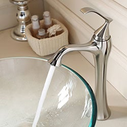 Kraus Bathroom Combo Set Clear Glass Vessel Sink/Faucet Brushed Nickel