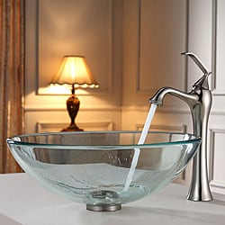 Kraus Clear Glass Vessel Sink and Ventus Faucet Brushed Nickel