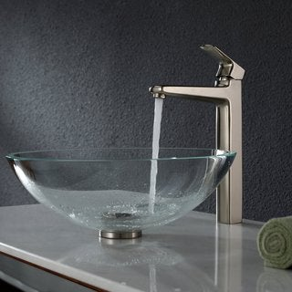 Kraus Crystal Clear Glass Vessel Sink and Virtus Faucet Brushed Nickel