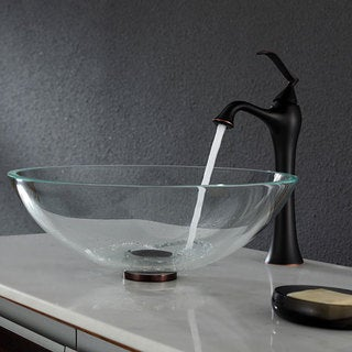 Kraus Crystal Clear Glass Vessel Sink and Ventus Faucet Oil Rubbed Bronze
