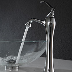Kraus Bathroom Combo Set Crystal Clear Glass Vessel Sink/Faucet Chrome