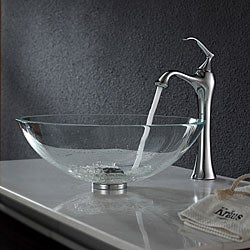 Kraus Crystal Clear Glass Vessel Sink and Ventus Faucet Chrome