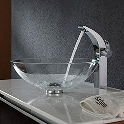 Kraus Crystal Clear Glass Vessel Sink and Illusio Faucet Chrome