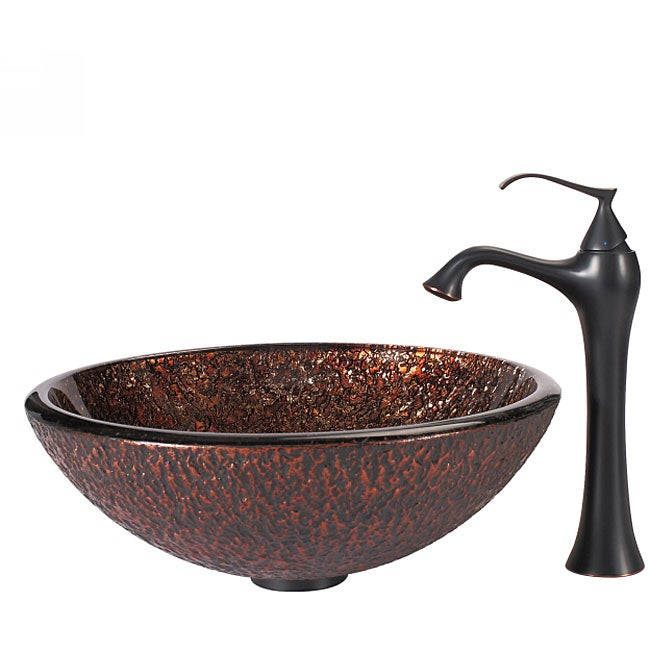Kraus Bathroom Combo Set Venus Glass Vessel Sink/Faucet - Overstock ...