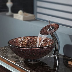 Kraus Venus Glass Vessel Sink and Waterfall Faucet