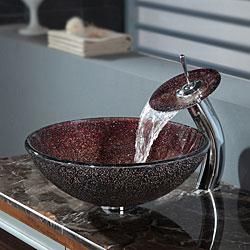 Kraus Bathroom Combo Set Callisto Glass Vessel Sink/Waterfall Faucet