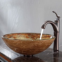 Kraus Ares Glass Vessel Sink and Riviera Faucet Oil Rubbed Bronze