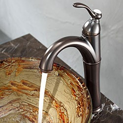 Kraus Bathroom Combo Set Ares Glass Vessel Sink and Riviera Faucet